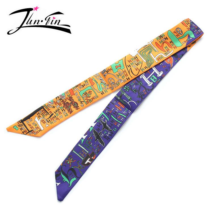 Twilly 2016 Fashion Print 50% Silk Scarf Small Ribbon letter Women headband Handle Bag wholesale 96*5cm(China (Mainland))