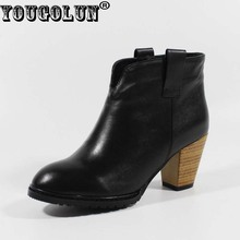 Buy YOUGOLUN Autumn Women Ankle Boots Elegant Black Ladies Thick Heels, 7cmGenuine Leather Boot Fashion Woman Round toe Heel Shoes for $33.60 in AliExpress store
