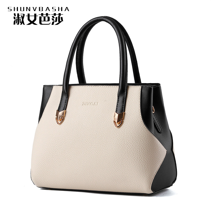 Hot Sale Pu Leather Top-handle Totes Solid Lady Office Bags 2016 Luxury Women Shoulder bags Fashion Women Bag Brand Handbag(China (Mainland))