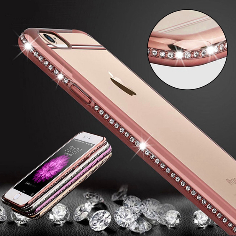 Roybens Luxury Bling Diamond Case For iPhone 7 / iPhone 7 Plus Transparent Soft TPU Rose Gold Cover For iPhone 6 6S Slim Clear(China (Mainland))