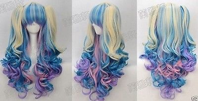 Hot ! NEW Gothic Lolita Wig + 2 Pig Tails Set Pastel Rainbow Mix Blend Cosplay<br><br>Aliexpress