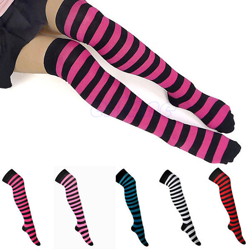 Z101 Women Girl Stripe Stripy Striped Over The Knee Thigh High Socks Long Socks