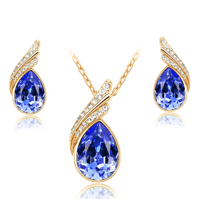 Fashion Austria Crystal Water drop Leaves Earrings necklace jewelry sets Classic design yellow Gold plated women gift g202(China (Mainland))