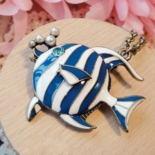2015 vintage tropical fish necklace fashion long costume necklace female
