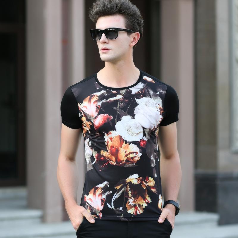 2016 New Arrive Streetwear Mercerized cotton T-Shirt Tees Men Women Cartoon Characters 3d elastic t shirt floral novelty(China (Mainland))