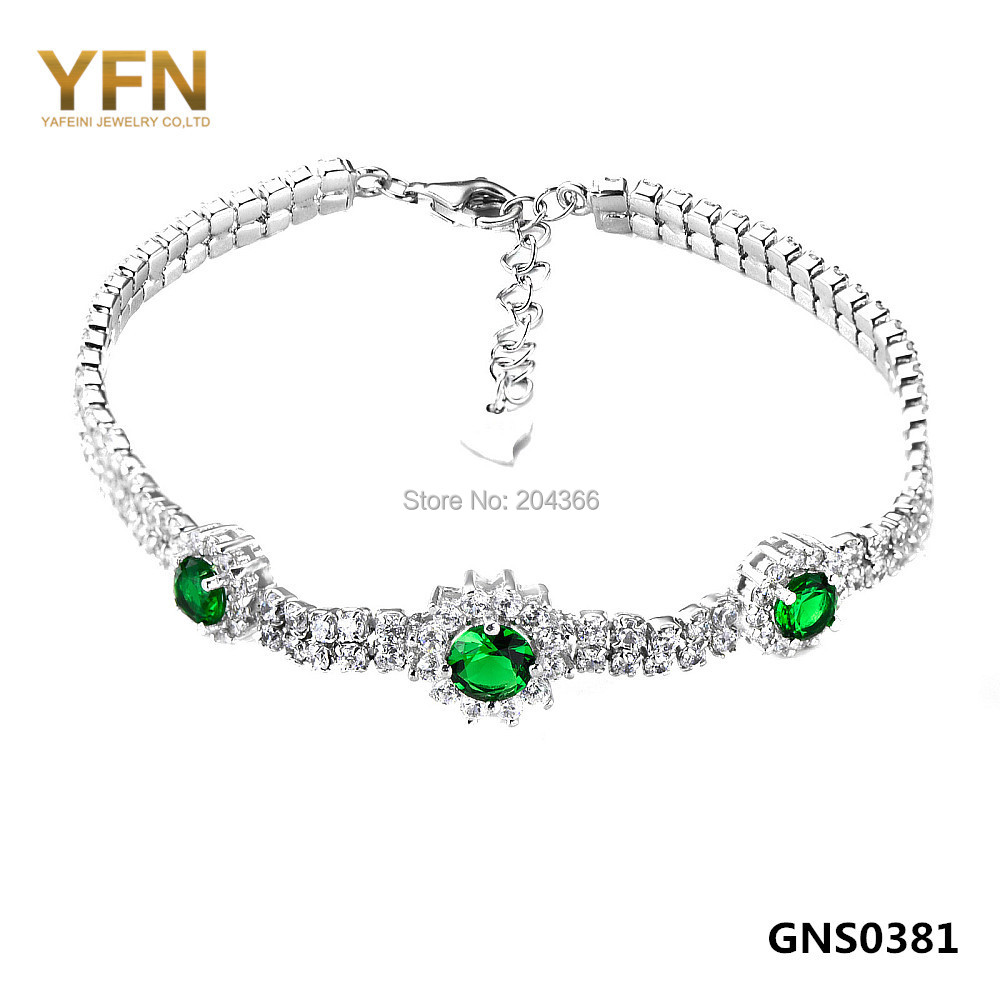 GNS0381 Luxury Wedding Jewelry Full AAA+ CZ Crystal Chain Bracelet Fashion 925 Sterling Silver Bracelet for Women Free Shipping