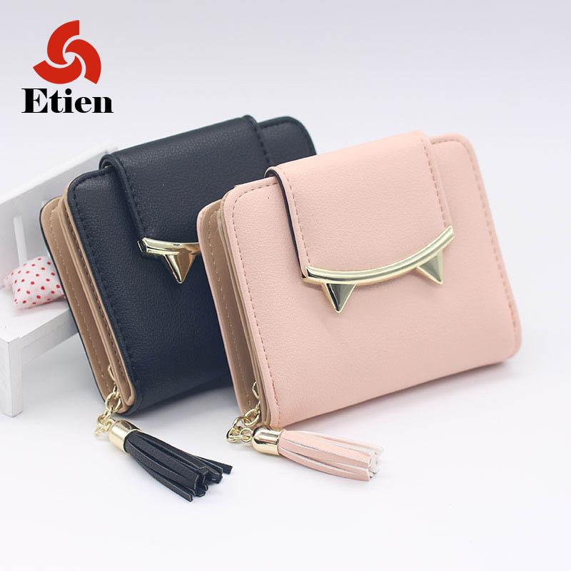 2017 korean cute cat anime leather trifold slim mini wallet women small clutch female purse coin card holder dollar bag cuzdan(China (Mainland))