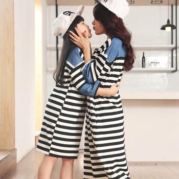 2016 Full New Arrival Matching Clothes Mother Daughter Dresses 15822015 Autumn New Korean Denim Knit Dress Wholesale Shop Agent