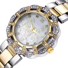 Relojes mujer vestido nuevo llegada Gold filled a prueba de agua reloj de fin de semana deals lujo cristales llenos checa envío gratis
