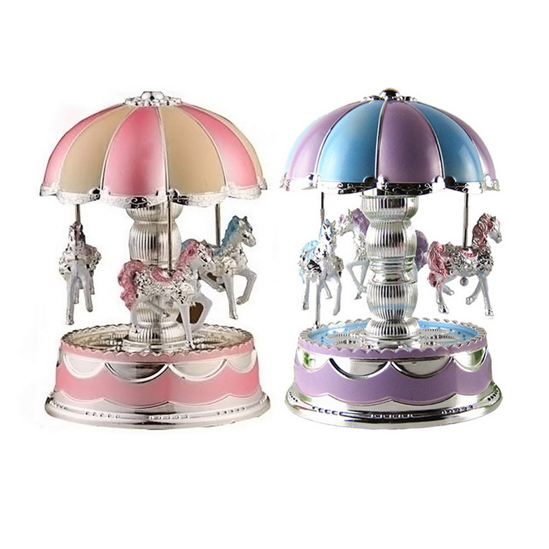 2016 Hot LED Light Merry-Go-Round Music Box Christmas Birthday Gift Toy Carousel Random Color(China (Mainland))