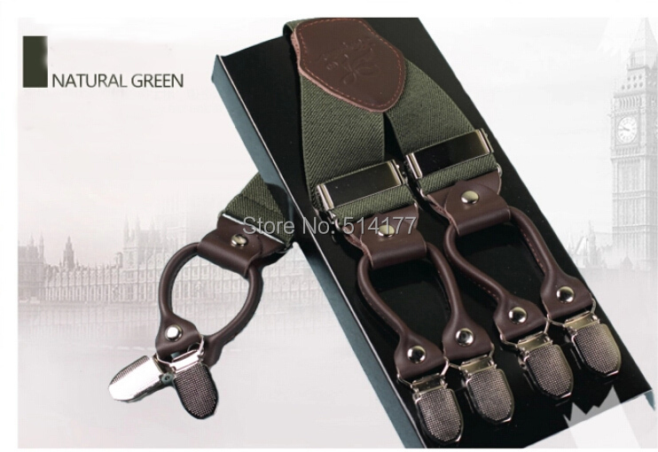 Genuine leather alloy 6 clips male vintage casual suspenders commercial western style trousers man s braces