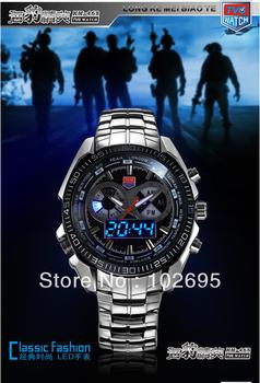 2014 NEW TVG watch Stainless Steel Luxury watch Men's Clock Fashion Sports LED Watch 30AM Waterproof  Watches relogio masculino