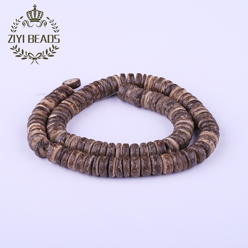 Hot 10mm Deep Coffee Coconut Shell Flat Round Hole Beads Wholesale Natural Dark Brown Square Beaded For Kids DIY Jewelry Making(China (Mainland))