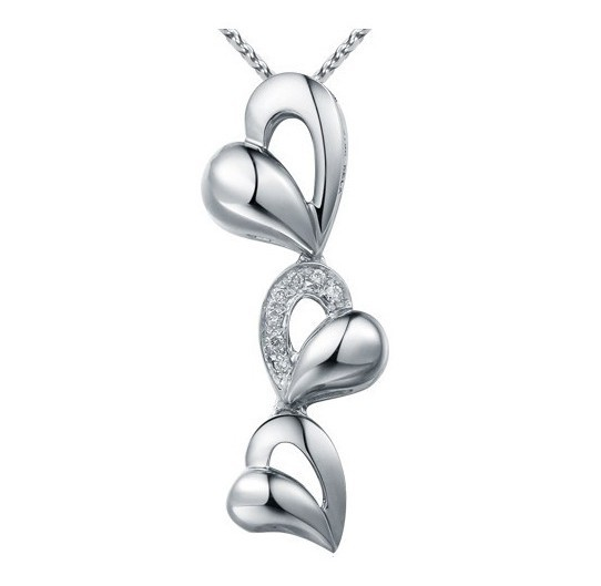 Trendy Personalized Women Necklaces Shining Mini Crystal Three Hearts Pendant White Gold Necklace Girlfriend Gift Jewelry N600(China (Mainland))