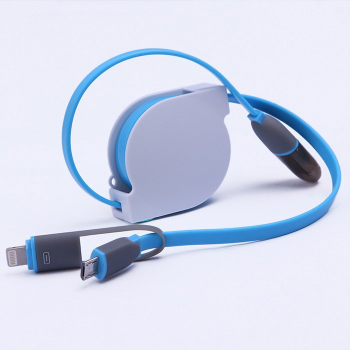 2pcs / Lot Latest Design 1 Meter 2 in 1 Retractable Charging Cable Data Line for iPhone and Android Phone(China (Mainland))