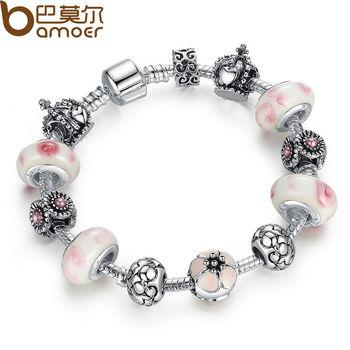 Аутентичные 925 серебряный браслет Pulseira с розовым бусины змея цепи браслет для ...