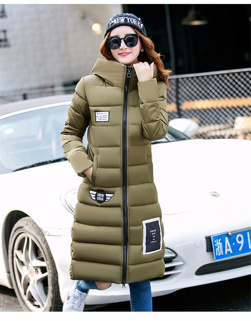 2016 Fashion Cotton Jacket Long Woman Winter Warm Coat Thick Overcoat Pink Hooded Down Parkas Stand Collar Outwear  YY52