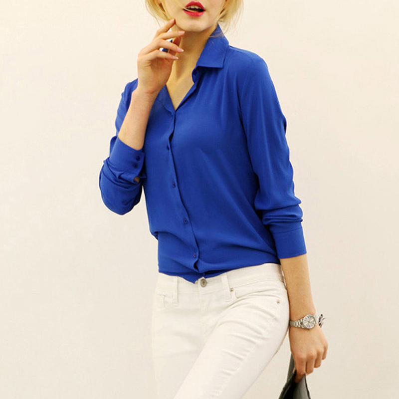 Women Blouses Direct Selling Free Shipping Button Solid 2015 Autumn New Long-sleeve Shirt Female Chiffon Women's Slim Clothing(China (Mainland))