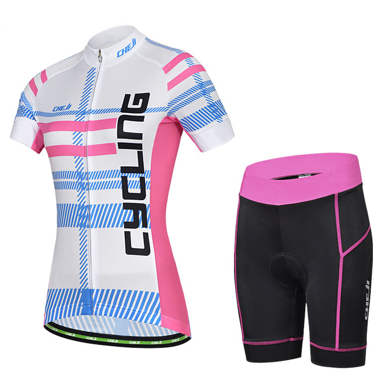 Lady Womens Short Sleeve Cycling Sport Clothing Wear Cheji Bicycle Apparel (Bicycle Bike Jersey And Cycle Shorts With Pad )<br><br>Aliexpress