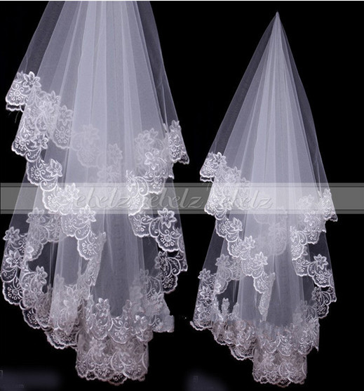 2 Layer Long Appliques Edge Ivory White Bridal Lace Veils Wedding Accessories Fashion Popular 2Z0159 - ebelz forever store