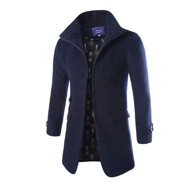 Zipper Fly Men Woolen Coats Jacket Long Trench Coat Fashion Pea Coat Outwear Top Quality Stand Collar Party Wear Overcoat XXL(China (Mainland))