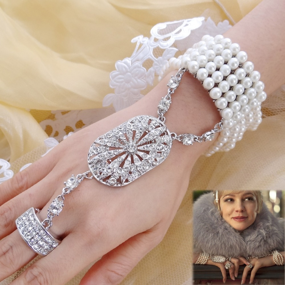 Bella 2015 The Great Gatsby Bridal Bracelet Ring Set Pearl Bridesmaid Austrian Crystal Stretch Bangle Party Gift For New Year
