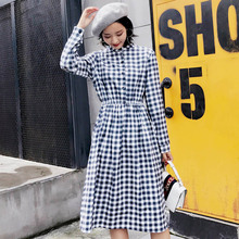 Floral Print Dress Long Sleeve Autumn Winter 2017 Fashion Casual Long Dress Corduroy Buttons Everyday Dresses For Women Clothing(China)