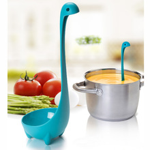 2016 New Spoons Loch Ness Monster Cartoon Kitchen Plastic Spoon Long Handled Spoon Soup Tableware Dinnerware Cooking Tools(China (Mainland))