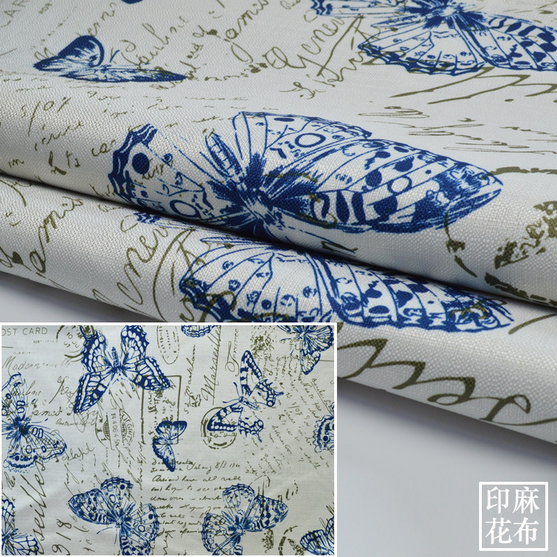 Width 1.48 M Thick Cotton Linen Cloth Sofa Butterfly Tablecloth Handmade Diy Pillow Cushion Fabrics Textile Quilting And Sewing(China (Mainland))