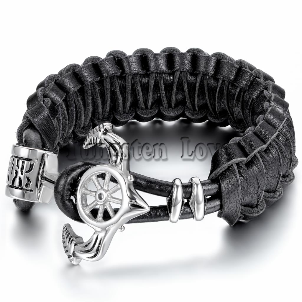 24.5cm Retro Personality Pirate Men leather Bracelet Stainless Steel Rudder Anchor Bracelet 2015 New arrived pulseira de couro(China (Mainland))