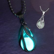 NEW Fashion Women The Little Mermaid s Teardrop Glow in Dark Pendant Necklace Vintage Glowing Jewelry