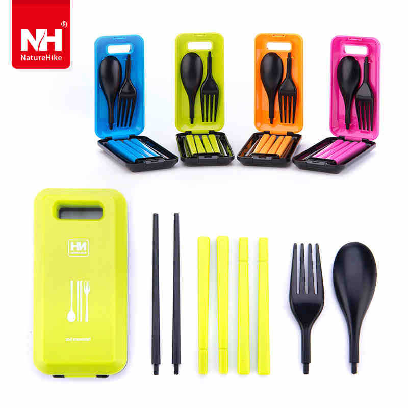 Outdoor Travel Picnic Protable Tableware Eco-friendly ABS Tableware Chopsticks Spoon Fork Storage Box -NatureHike(China (Mainland))