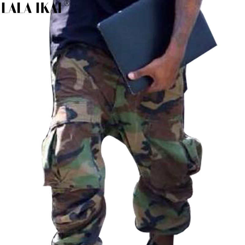 Camouflage Drawstring Hip Hop Cargo Pants Men Kanye West Streetwear YEEZY Brand Pockets Mens Joggers Casual Pants KME0015-4.5Одежда и ак�е��уары<br><br><br>Aliexpress