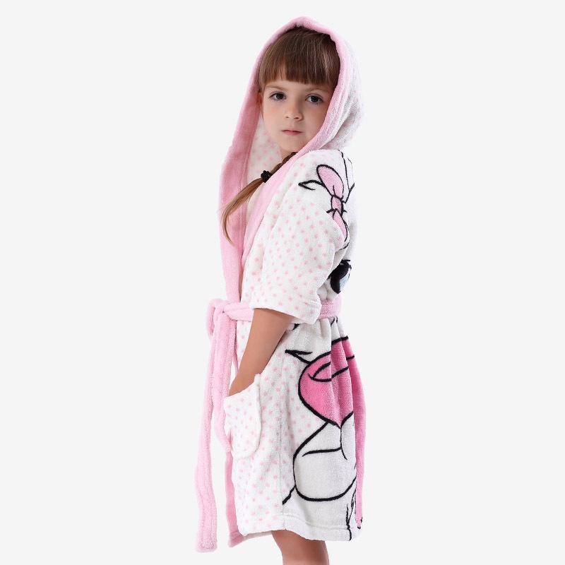 Roupão Infantil ~ Girls White Bathrobe With Hood Coral Fleece Printed Cat