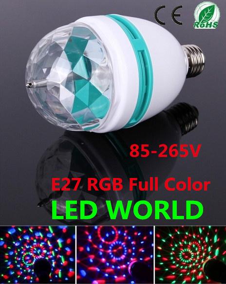 2 pcs/lot 3W RGB DJ Stage Lighting Bulb Disco Crystal Ball Lights E27 E26 B22 Base RGB RGB LED lamp christmas lights with(China (Mainland))