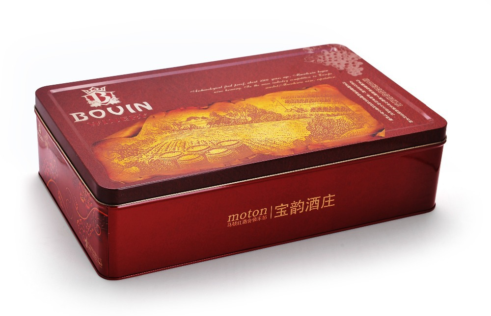 Newest fancy printing tin box for wine packing(China (Mainland))
