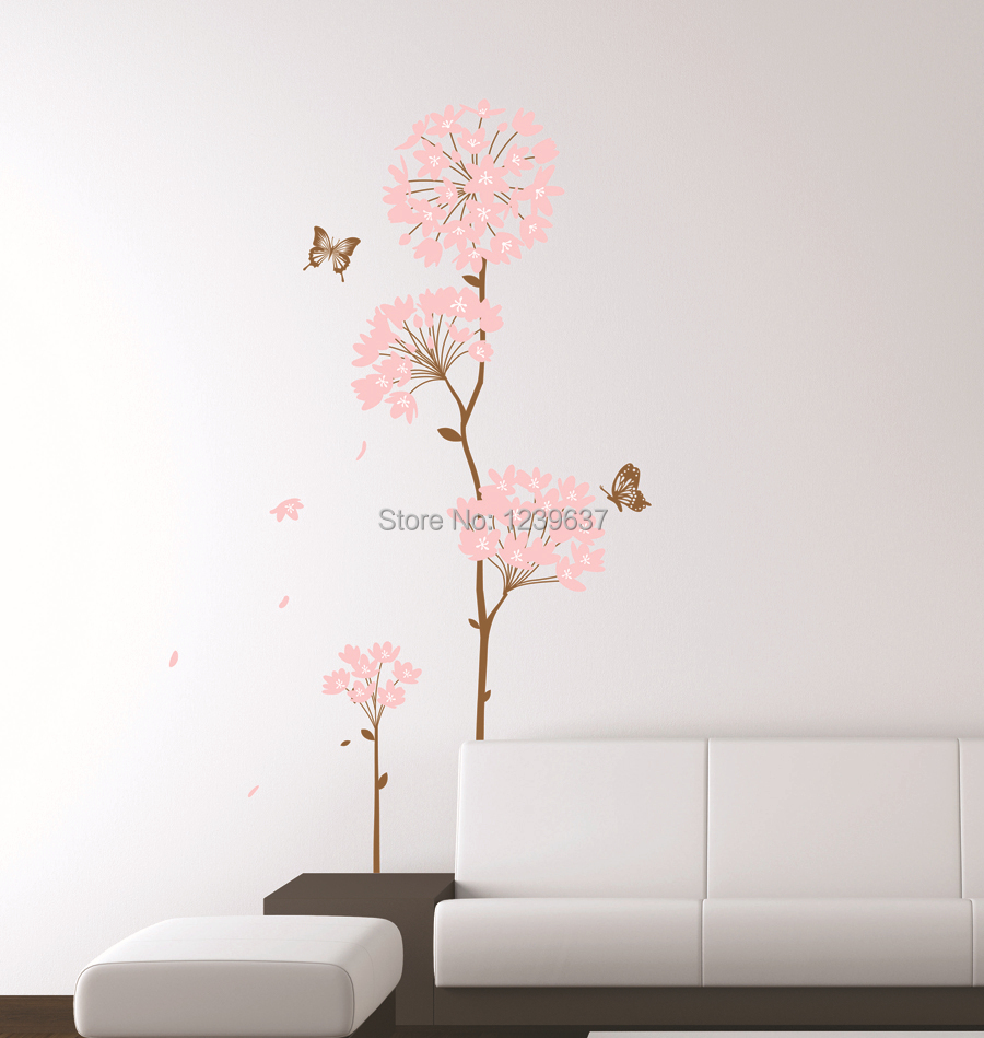 Pink-Hydrangea-Flower-Tree-and-Butterflies-Wall-Decals ...