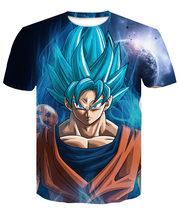 Супер Saiyan 3D футболка аниме Dragon Ball Z Goku летние модные футболки для мужчин/мальчиков, Мастер Роши, одежда с принтом Футболка с героями мультфил...(China)