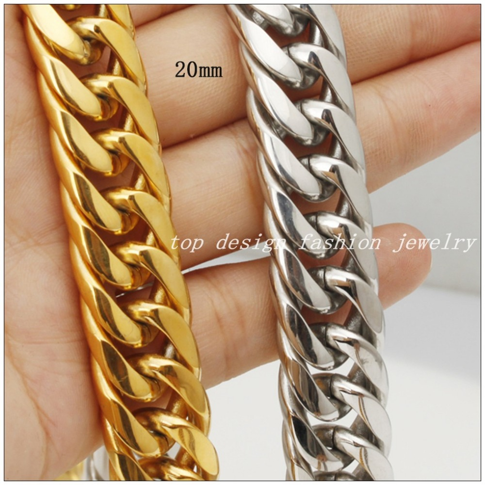 Customized Size Fashion Jewelry 8 inch~36 inch Huge Heavy Stainless Steel Silver Gold 20mm Curb Cuban Chain Mens Boys Necklace&Bracelet - Top Design store