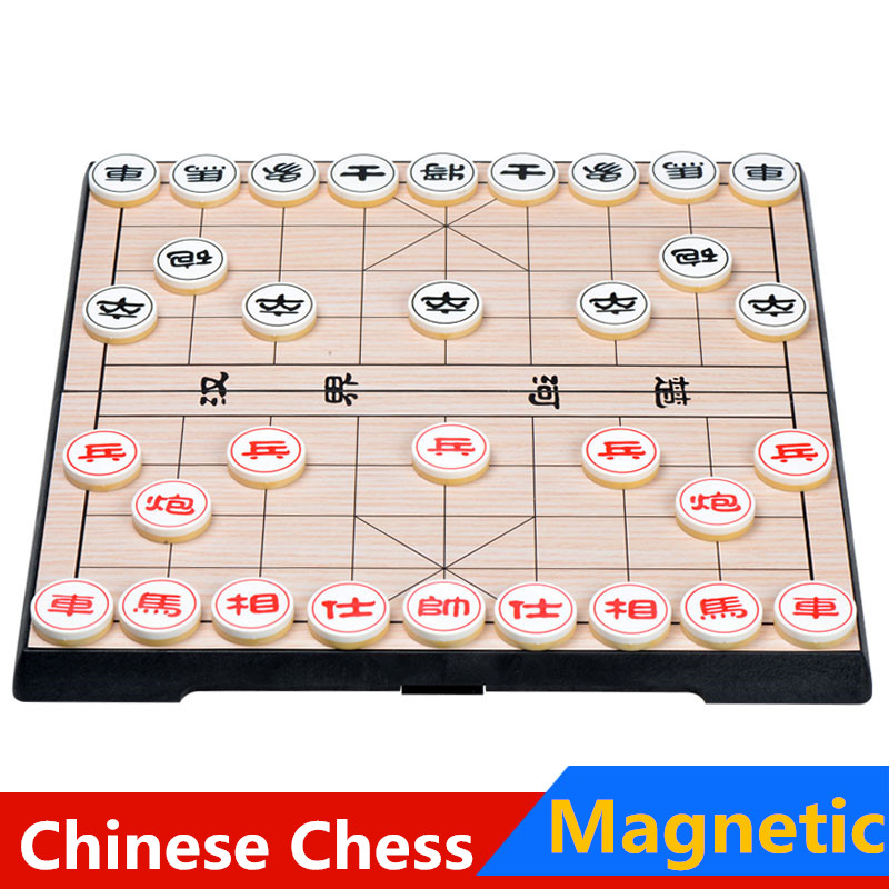 Free shipping 2016 Portable Chinese Chess Set Magnetic Foldable Board Game 25*25*2.3 cm Xiangqi Chess Game(China (Mainland))