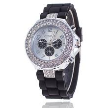 Fashion Silicone GENEVA Watch Crystal Silicone Jelly Watches Watched Women Rhinestone Watch Relogio Feminino BW1000(China (Mainland))
