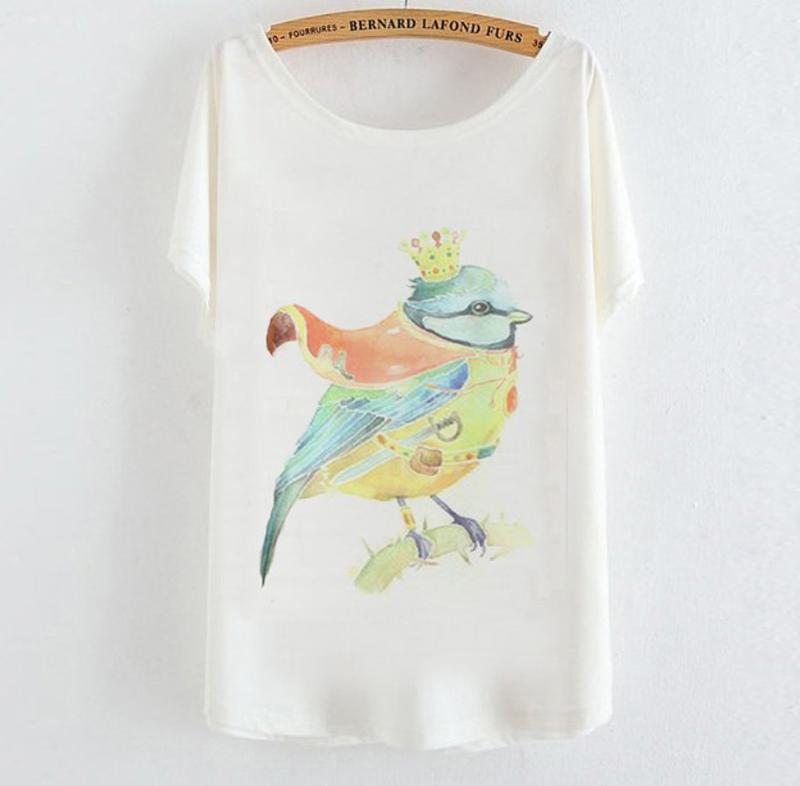High Quality Fashion 2015 graphic tees women t shirt colourful bird print tee shirt femme camisetas mujer short sleeve casual(China (Mainland))