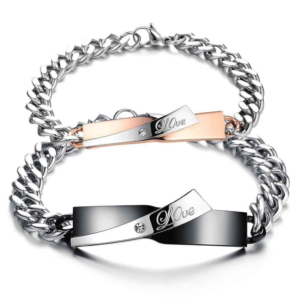 2014 Newest arrival LOVE young boys girls couple bracelet titanium steel N702