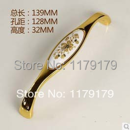 Zinc alloy ceramic golden drawer pull /decorative 128mm  furniture pull furniture accessories hardware accessories 8602-128B<br><br>Aliexpress