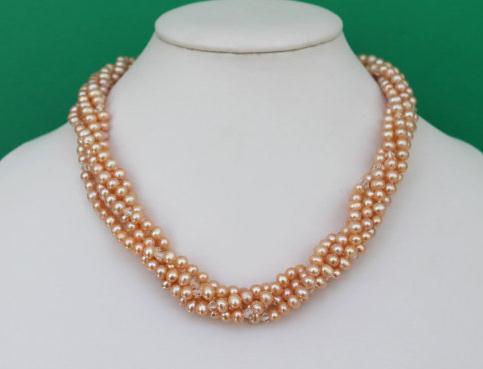 Perfect Multi Strand Pearl Necklace Beautiful Twisted Pink Color Freshwater Pearl Crystal Beads Jewelry