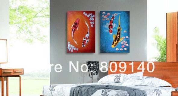 Feng Shui Wall Decor For Office : Oil painting on canvas feng shui koi fish high quality
