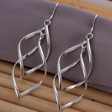 Brand New Fashion Jewelry Silver Plated Twist Shaped Drop Dangle Earring for Women Gift(China (Mainland))