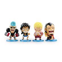 "Buy Anime Figurine One Piece Monkey D Luffy Donquixote Doflamingo Franky Kinemon PVC Action Figure Model Toy 4""10cm 4pcs/set for $29.30 in AliExpress store"