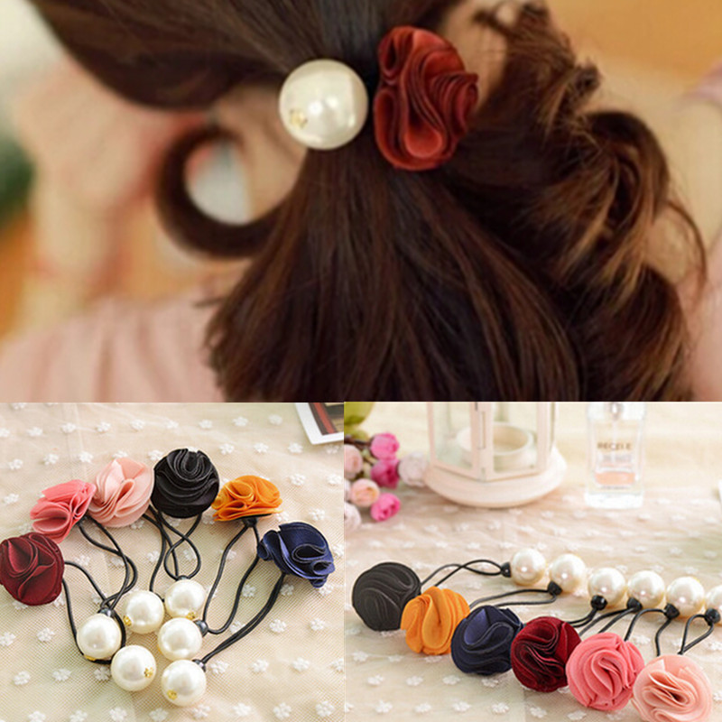 4 Factory Price 2015 Korean Fabric Flowers/Floral Girls Ponytail Holders Gum for Hair Ties Women's Pearl Elastic Hair Band li(China (Mainland))