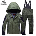 Hot Waterproof Children Skiing Sets Winter Windproof Thermal Snowboarding Jacket Straps Ski Pants Breathable Outdoor Sportswear